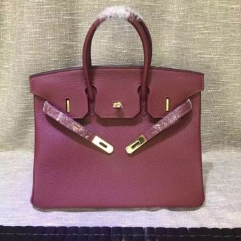 Hermes Birkin 30cm Togo leather Handbag burgundy gold