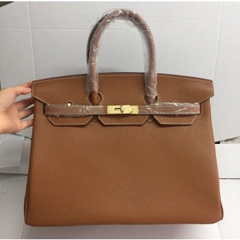 Hermes Birkin 35cm cattle skin vein Handbags light coffee golden