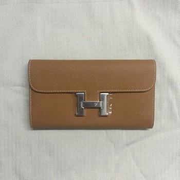 Hermes Epsom Leather Wallet Camel Silver