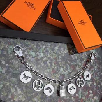 Hermes Bag Charms Long Chain Silver