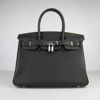 Hermes Birkin 30cm Togo leather Handbags black silver