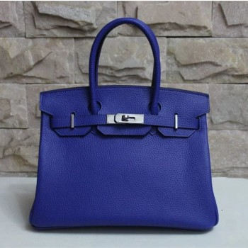 Hermes Birkin 30cm Togo leather Handbag electric blue silver