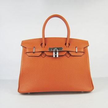 Hermes Birkin 30cm Togo leather Handbags orange silver