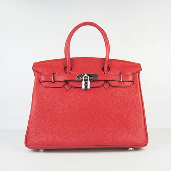 Hermes Birkin 30cm Togo leather Handbags red silver