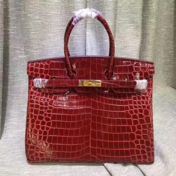 Hermes Birkin 35cm Handbag Crocodile Leather Dark Red Gold