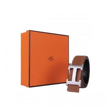 Hermes calf leather men H belt 138 silver/Light coffee