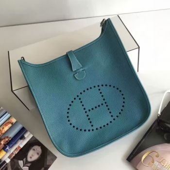 Hermes Evelyne III Togo Leather Crossbody Bag Blue