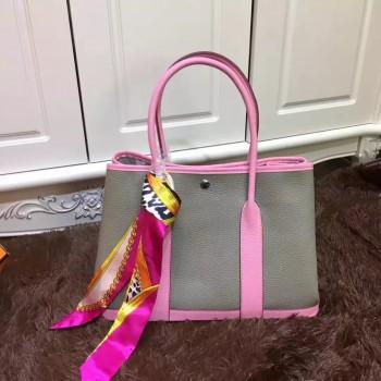 Hermes Garden Party 36cm Leather Handbag Grey Pink