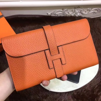 Hermes Jige Wallet Togo Leather Orange