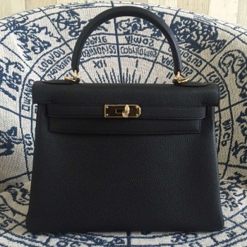 Hermes Kelly 28cm Bag Togo Leather Black Gold