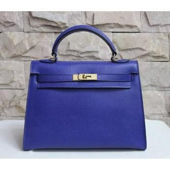 Hermes Kelly 32cm Epsom Leather Handbag Electric Blue Gold