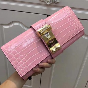 Hermes Medor Clutch 29cm Croco Pink