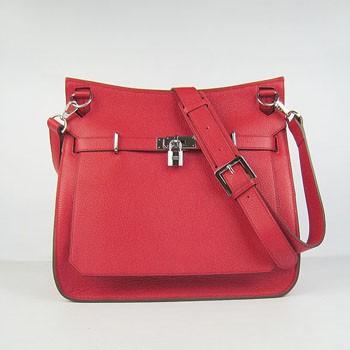 Hermes Jypsiere 28cm Crossbody Bag Red Silver