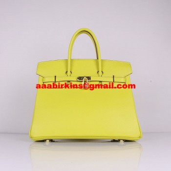 Hermes Birkin 30cm Togo Leather Handbags Lemon Yellow Golden