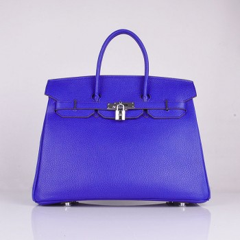 Hermes Birkin 35cm Togo leather Handbags electric blue silver