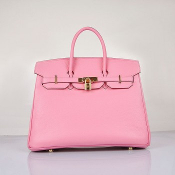 Hermes Birkin 35cm Togo leather Handbags Cherry Pink Golden