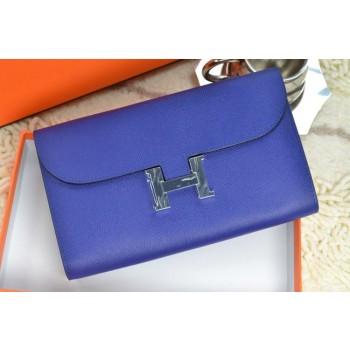Hermes H Wallet Royal Blue Silver