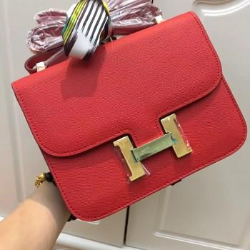 Hermes Constance Bag 23cm Epsom Leather Red Gold