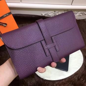 Hermes Jige Wallet Togo Leather Purple