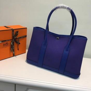 Hermes Garden Party 36cm Canvas Handbag Electric Blue