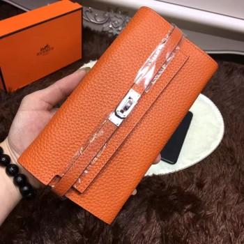 Hermes Kelly Wallet Togo Leather Orange