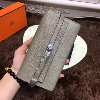 Hermes Kelly Wallet Togo Leather Grey