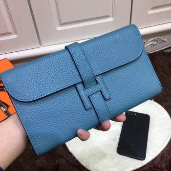 Hermes Jige Wallet Togo Leather Blue