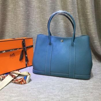 Hermes Garden Party Handbag Large 36cm Blue