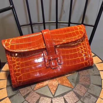 Hermes Jige Clutch 29cm Croco Orange