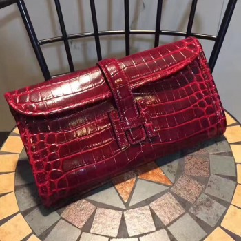 Hermes Jige Clutch 29cm Croco Dark Red
