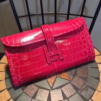 Hermes Jige Clutch 29cm Croco Hot Pink