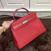 Hermes Kelly 32cm Togo leather handbag red silver