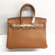 Hermes Birkin 25cm Handbag 6068 light coffee golden