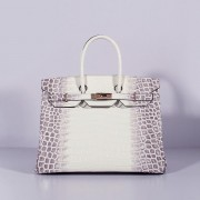 Hermes Birkin 35cm Crocodile Leather Handbag Grey White Gold