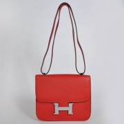 Hermes Constance Bag 23cm Togo Leather Red Silver