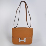 Hermes Constance Bag 23cm Togo Leather Camel Silver