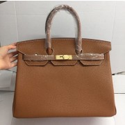 Hermes Birkin 35cm cattle skin vein Handbags light coffee golden