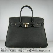Hermes Birkin 35cm cattle skin vein Handbags black golden