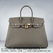 Hermes Birkin 35cm cattle skin vein Handbags dark khaki golden