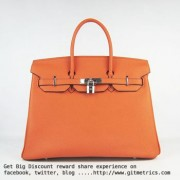 Hermes Birkin 35cm cattle skin vein Handbags orange silver