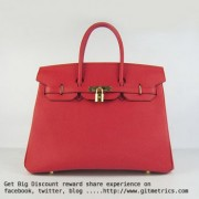 Hermes Birkin 35cm cattle skin vein Handbags red golden