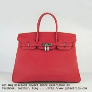 Hermes Birkin 35cm cattle skin vein Handbags red silver