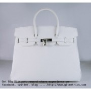 Hermes Birkin 35cm Togo leather Handbags white silver
