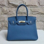 Hermes Birkin 30cm Togo leather Handbag blue gold