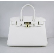 Hermes Birkin 30cm Togo leather Handbags white golden