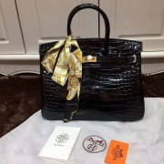 Hermes Birkin 35cm Handbag Crocodile Leather Black Gold