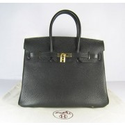 Hermes Birkin 35cm Togo leather Handbags black golden