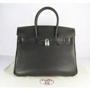 Hermes Birkin 35cm Togo leather Handbags black silver