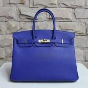 Hermes Birkin 35cm Togo leather Handbag electric blue gold