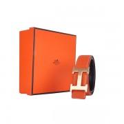 Hermes calf leather men H belt 138 gold/Orange